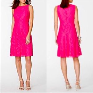 Pink Sleeveless Lace Fit & Flare by Chaps NWT | 16